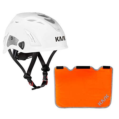 KASK Schutzhelm, Bergsteigerhelm, Industriekletterhelm Plasma HI VIZ Reflexstreifen, EN 397 + Nackenschutz orange für BG Bau Förderung, Farbe:weiß