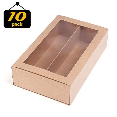 LELADY JEWELRY Macaron Box Macarons Container für 12 Macaron, Macaroon Packaging Boxen mit Sichtfenster (Kraft, 10 Einheiten Pack) 7,4 Zoll × 4,1 Zoll × 2 Zoll