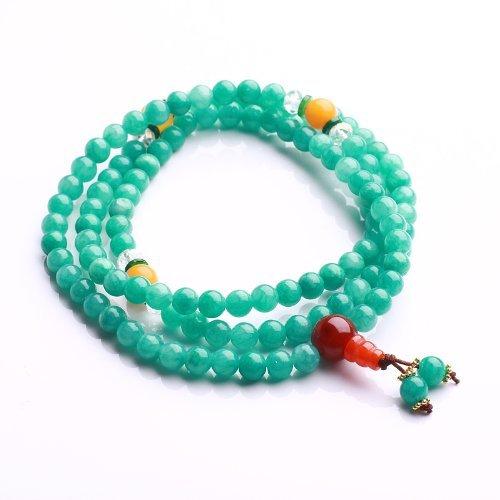 Qiyun Jade priere Mala Tibet Meditation bouddhiste Collier Bracelet bleu 6mm
