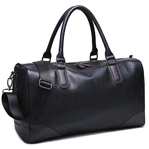 BAOSHA HB-06 TOP PU Leder Unisex Reisetasche Handtaschetotes Weekender Duffel Bag Sporttasche Für Herren und Damen (Schwarz übergroß)