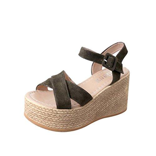 Sandalias de Vestir Plataforma tacón Alto de Playa para Mujer, QinMM Casual Zapatos de Baño Verano Fiesta Chanclas (39, Verde)
