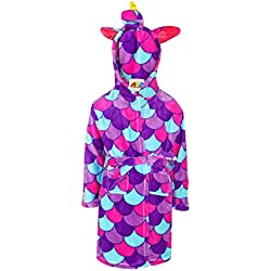 A2Z 4 Kids Filles Garçons Peignoir Enfants Nouveauté 3D Animal Doux Court À Capuche - Bathrobe Unicorn Purple Scales 9-10