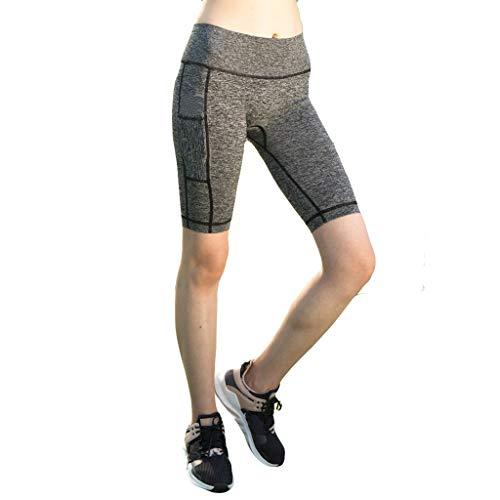 Hokoaidel Damen Fitness Damen Shorts, Sommer Kurze Yogahose, Atmungsaktiv Schnell trocknende Trainieren Sporthose mit Taschen, Hohe Taille Sport Leggings Jogging Hose mit Taschen - Läuft Spandex Shorts