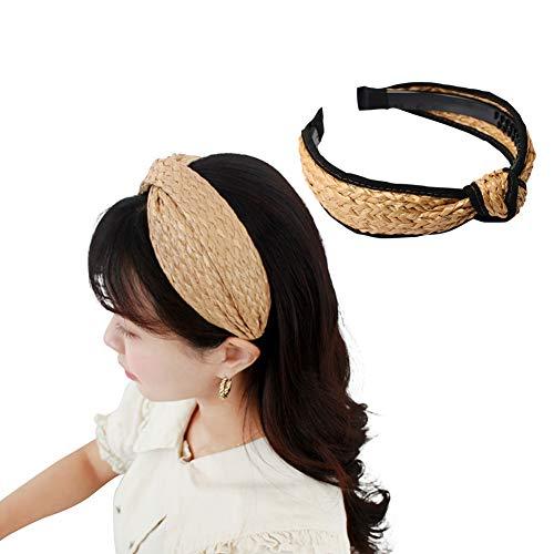 flybuild Mode Frauen Stirnband Stroh Webart Cross Hair Hoop breites Haarband Headwear 3# (Handwerk Stroh-hüte Für)