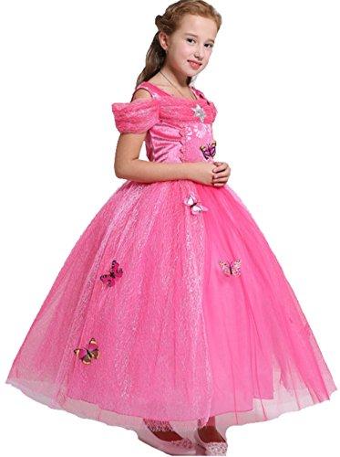 AGOGO Prinzessin Kostüm Kleid für Mädchen Schmetterling fancy Kleid Karneval Kostüm Partei cosplay faschingskostüm festkleid Weihnachten Halloween Party Kleid 104 116 128 140 152 (Größe 130cm, (Und Kostüme Tanz)