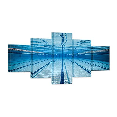 Hello Kunstwerk-Groß 5-teilig Leinwand Art Wand blau Wasser Schwimmbad Modern Schwimmbad Sport Gym gespannt und gerahmt Home Decor Art Wand für Wohnzimmer Decor