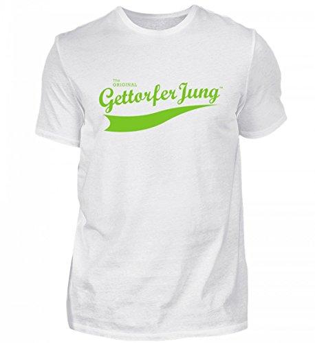 Shirtee Hochwertiges Herren Premiumshirt Gettorfer Jung Weiß