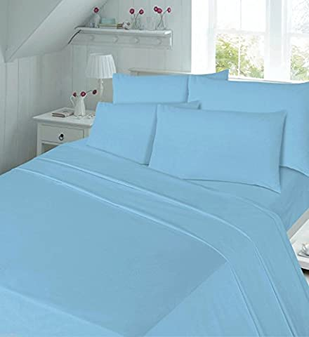Thermal flannelette 100% brushed cotton flat or fitted sheet plain luxury new (Blue, king flat sheet)