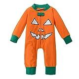 Riou Kinder Langarm Halloween Kostüm Top Set Baby Kleidung Set Kleinkind Baby Jungen Mädchen Kürbis Teufel t-Shirt Tops + Hosen Halloween Outfits Set (100, Orange B)