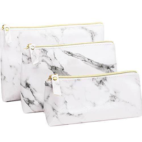 Luxus Marmor Kosmetiktasche Set von 3 Wasserdicht PU Leder Kulturbeutel Reise Toiletbag Duschbeutel für Damen -