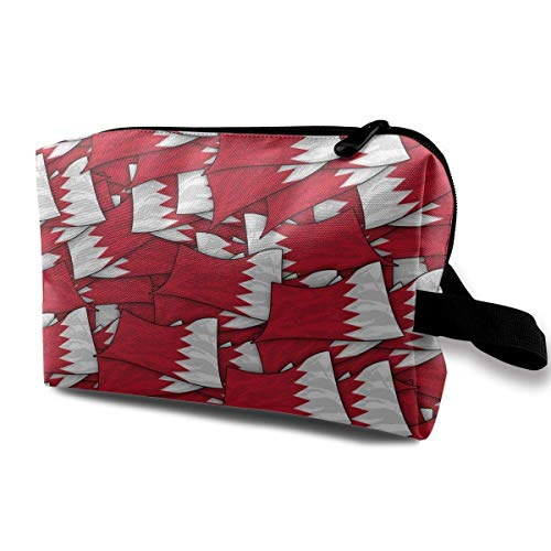 Bahrain Flag Wave Collage Toiletry Bag Waterproof Fabric Cosmetic Bags Travel Case for Women's Accessories - Karte Bahrain Von