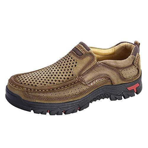 catmoew Wanderschuhe Herren Freizeit Lederschuhe Groß Hohl Atmungsaktiv Sandalen Mode Trend Einzelne Schuhe Flacher Runder Kopf Freizeitschuhe Männer Wild Müßiggänger Geschäft Lederschuhe