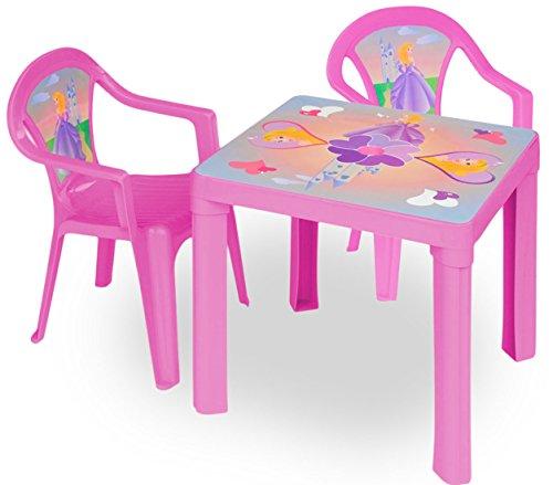 Vian Lundgaard - Kinder Gartengarnitur Tisch Stühle Kombi- Set, Pink (Rasen Sitzgelegenheiten)