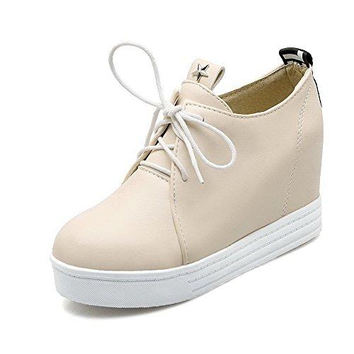 VogueZone009 Damen Rein Weiches Material Hoher Absatz Schnüren Rund Zehe Pumps Schuhe Cremefarben