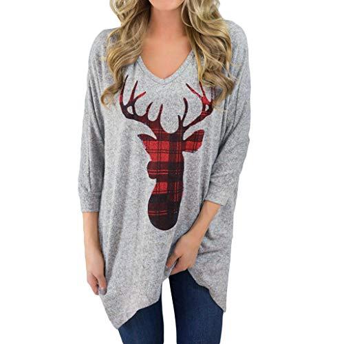 Weihnachten Sweatshirt für Frauen LSAltd Damen Weihnachten Plaid Casual Deer Print Langarm Bluse lose top Shirt ()