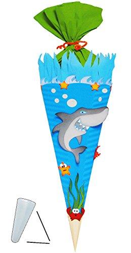 alles-meine.de GmbH BASTELSET Schultüte -  Hai Fisch & Unterwasser Welt  - 85 cm - mit / ohne Kunststoff Spitze - Zuckertüte - Set zum selber Basteln - 6 eckig / blau - Jungen ..