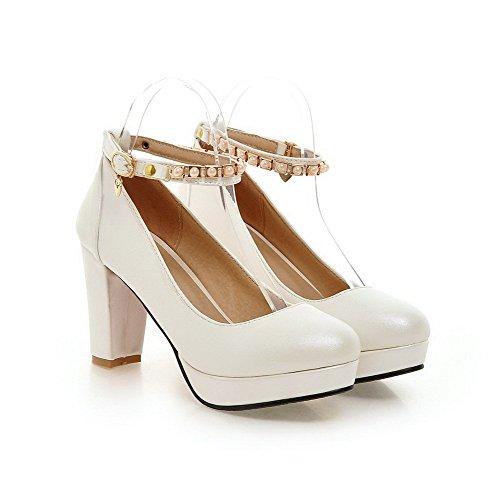 AllhqFashion Femme Pu Cuir Couleur Unie Boucle Rond à Talon Haut Chaussures Légeres Blanc