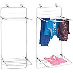 mDesign sèche-Linge pour Porte (Lot de 2) - étendoir à Linge Peu encombrant à accrocher en métal et Plastique - à 2 étages - séchoir à Linge pour Salle de Bain ou buanderie - Blanc/Gris