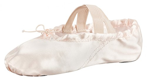 tanzmuster Ballettschuhe Ballettschläppchen aus Satin, ganze Ledersohle, rosa, (Satin Mädchen Rosa Kostüme)