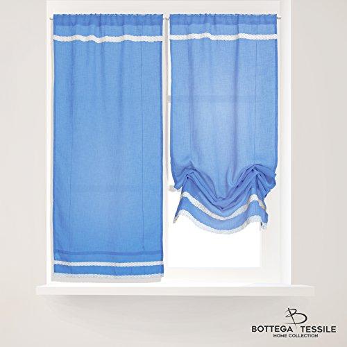Bottega tessile coppia di tendine per finestra/balcone mod.courmayeur,colore blu - mis. 60 x 150 cm,design pizzo ricamato - semi coprente