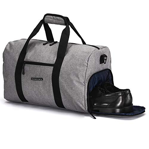 ronin's Stilvolle Sporttasche Reisetasche mit Schuhfach und Trinkflaschen-Halter |Update Version 2019 |Grau (Sporttasche Trinkflasche)