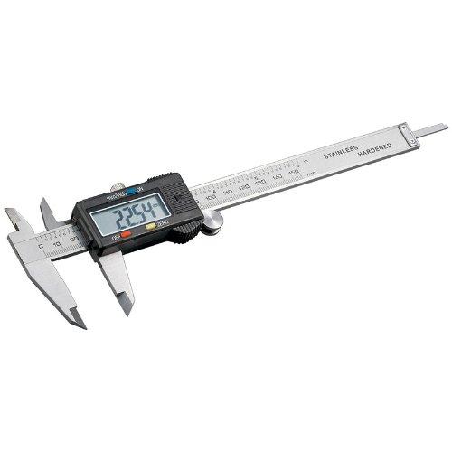 Maxima Trade Schieblehre Messschieber Längenmessgerät mit Tiefenmessstange und Display Digital Schieblehre. Inkl. Batterie 1,5 V (LR44, SR44, V357)