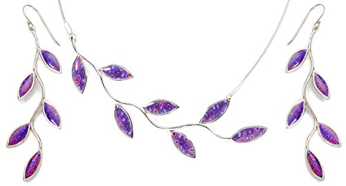 Parure Feuilles en Argent Fin et Fimo - Collier et boucles d'oreilles colorés - Cadeau unique Violet