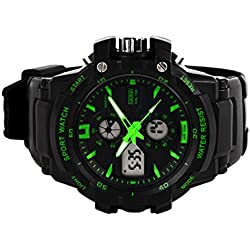 Amstt Unisex Sport Kids Watches Boys Girls Digital Waterproof Alarm Wristwatch for Age 7-15 Year Old Childrens(Green)