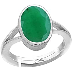Clara Emerald Panna 3cts or 3.25ratti stone 92.5 Sterling Silver Adjustable Ring For MEN