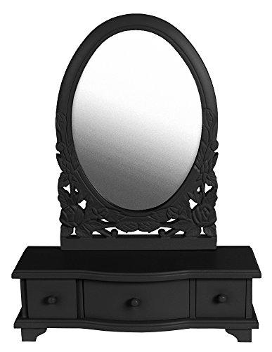 Sylvester Oxford Ltd Chic schwarz Schminktisch Spiegel mit Schubladen