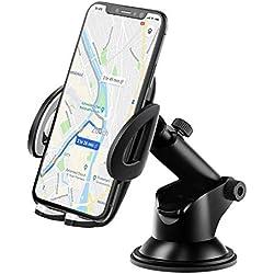 IZUKU Support Telephone Voiture Tableau de Bord [2 en 1] Rotation 360° Universel Support Portable Voiture Ventouse pour Pare-Brise [Garantie à Vie]