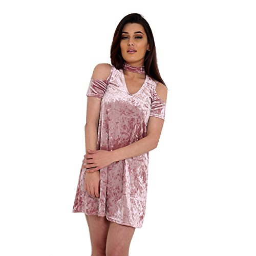Damen Crushed Velour-Hals Neck Cold Shoulder Swing-Kleid EUR Größe 36-42 Rose Gold