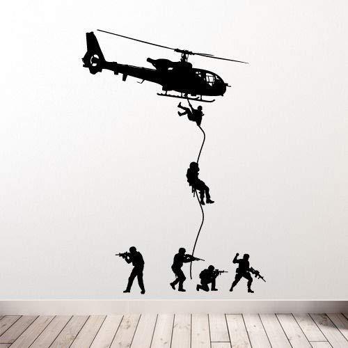 jiuyaomai Abnehmbare Hubschrauber Wandtattoo Militär Soldaten Männer Swat Kinder Jungen Schlafzimmer Dekoration Vinyl Kunst Aufkleber 75x100 cm