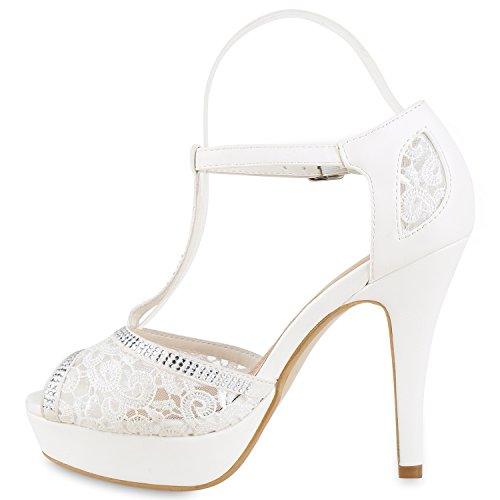 Sandaletten Heels Stiletto Abendschuhe Damen Metallic Weiss Spitze High Sandalen Plateau Strass 6ZwwxBHqO