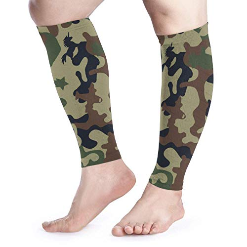 Camouflage Camo Army Military Tactical Green Black Cool Running Home Workout Sport Gym Gear Accessories Calf Compression Sleeve Leg Jobs Running Half Foot Guard Protective Supports Guards -