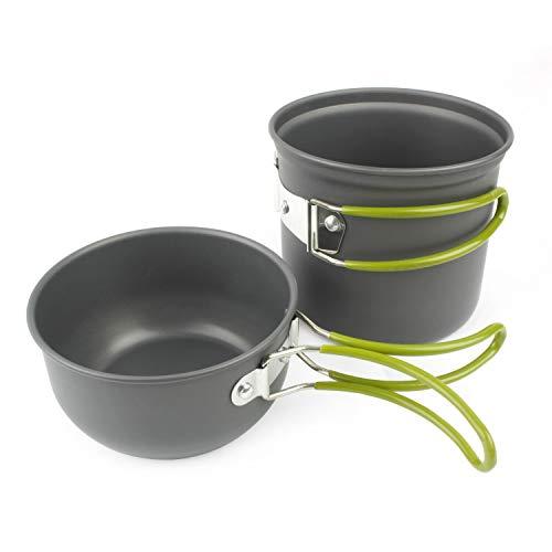 Grenhaven - Set pentole da campeggio - Padella (coperchio), pentola e borsa in rete, in leggero alluminio anodizzato con manici flessibili in silicone - utensili da cucina compatti - pentole da campeggio - set cucina campeggio - antracite matte