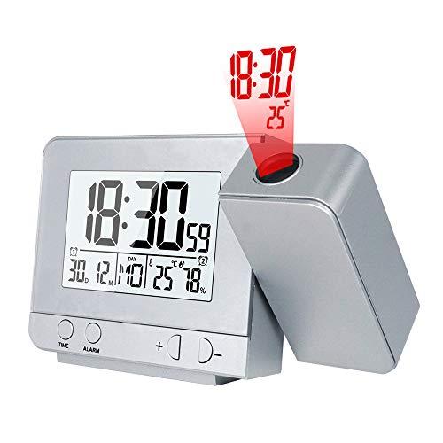 CWWHY Projektionswecker für Schlafzimmer, LED-Anzeige Projektor Uhr USB-Ladegerät, Mit Temperaturanzeige und Feuchtigkeitstest, für Home Office Hotel, 2 Packungen,Silver