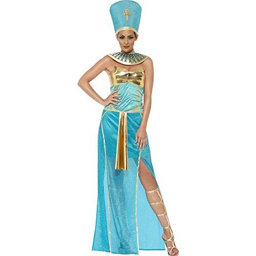 Smiffys, Damen Pharaonin Nofretete Kostüm, Kleid, Kopfbedeckung und Kragen, Größe: M, 43732 (Ägyptische Kopfbedeckung Kostüm)