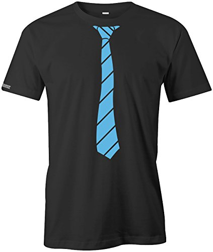 JGA - Krawatte Business Style - Herren T-SHIRT in Schwarz-Hellblau by Jayess Gr. XXL