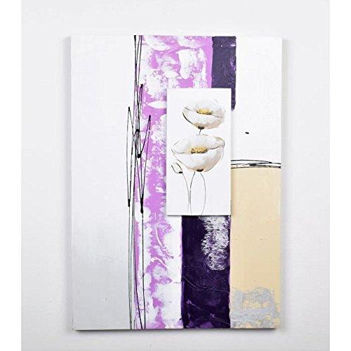 Tableau déco Fleurs - Peint a la main - 50x70x3cm