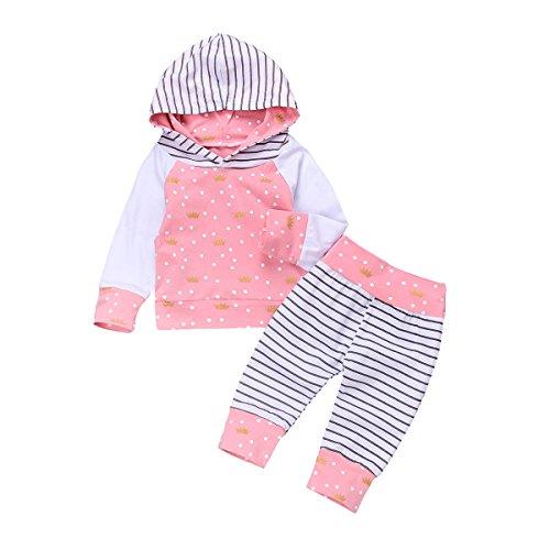 HAOKTY Baby Mädchen Kleidungs Outfit Trainingsanzug Langes mit Kapuze Sweatshirts und Gestreiftes Sweathosen Sweatanzüge für 0-2 Jahre Kleine (70)
