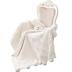 MYLUNE HOME Stilvolle Strickdecke für Fernsehen oder Nap auf dem Stuhl, Sofa und Bett 130 * 160cm (White)