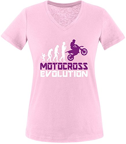 EZYshirt® Motorcross Evolution Damen V-Neck T-Shirt Rosa/Weiss/Violett