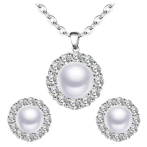 BiBeary Damen Süßwasser Zuchtperle Schmuck Set für Damen rund elegant 925 Sterling Silber Zirkonia Halskette Kette Ohrringe elegant (Zuchtperlen-schmuck-sets)