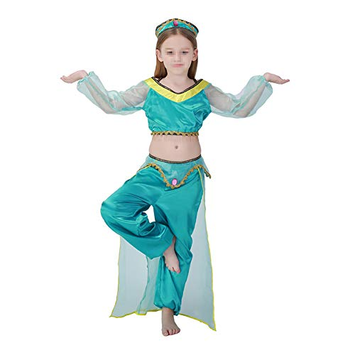 MISTYU Halloween Kinderkleidung Green Arab Girls Jasmine Princess Kostüme, Belly Indian Dance Kleidung für Halloween Kindertag-M -