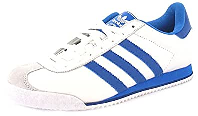 Mens/Gents White/Blue Leather Adidas Kick Lace Up Fashion Trainers - White/Blue - UK SIZE 11
