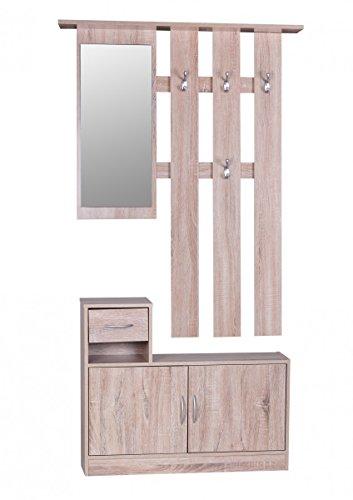 FineBuy SERO Garderobe komplett zum aufhängen Flur mit Spiegel Garderoben-Set Wandgarderobe mit Hut-Ablage Holz mit Garderobenhaken hängend mit Unter-Schrank platzsparend 90cm breit 2 teilig Sonoma Eiche