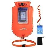 HUWAI Swim Boje - Schwimmender Schlepptau Schwimm- und Trockentauchsack für Open Water Schwimmer und Triathleten - Leichter und sichtbarer Schwimmkörper für Sicheres Training und Rennen (PVC)