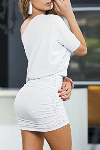 Azbro - Robe - Plissée - Manches Courtes - Femme white