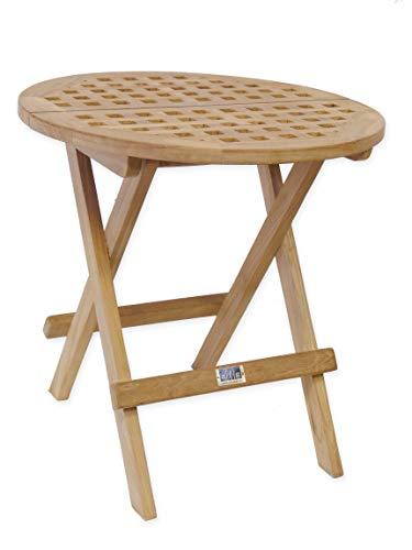 AFG Gartentisch rund Massives Teakholz unbehandelt/Klappbarer Beistelltisch, Klapptisch, Holztisch 50 cm -